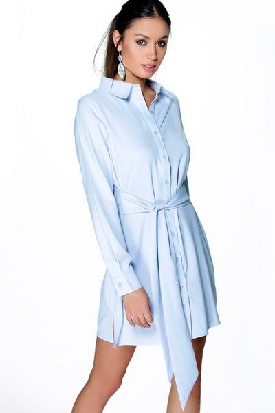 Boohoo ARIANNA WRAP FRONT SHIRT DRESS