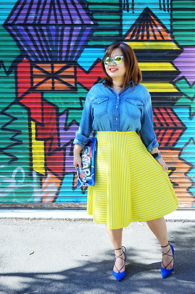 H&M denim shirt and H&M yellow lace circular skirt (1)