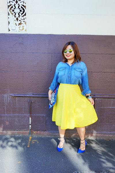 H&M denim shirt and H&M yellow lace circular skirt (2)