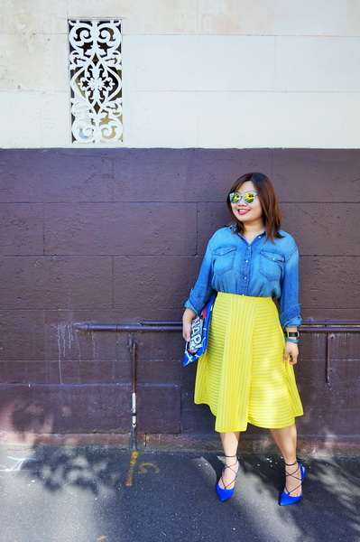 H&M denim shirt and H&M yellow lace circular skirt (3)
