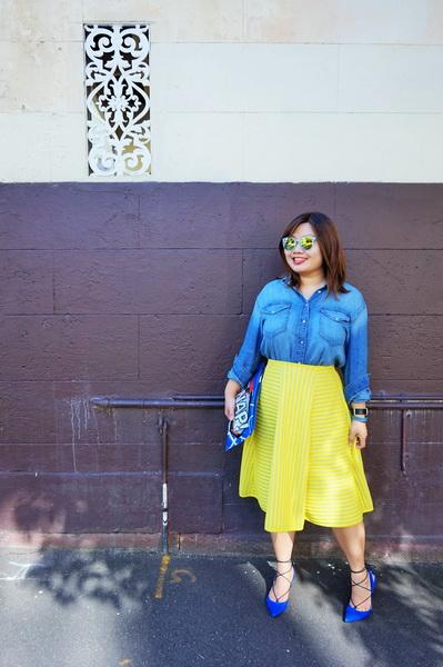 H&M denim shirt and H&M yellow lace circular skirt (3)