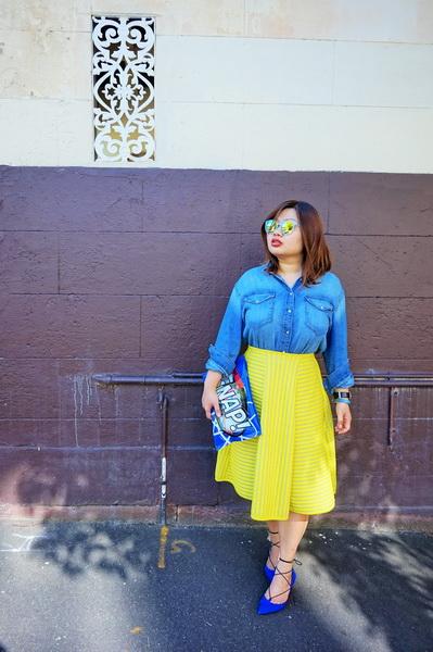 H&M denim shirt and H&M yellow lace circular skirt (4)