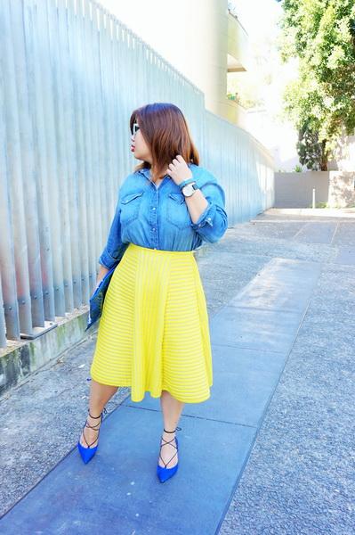 H&M denim shirt and H&M yellow lace circular skirt (5)