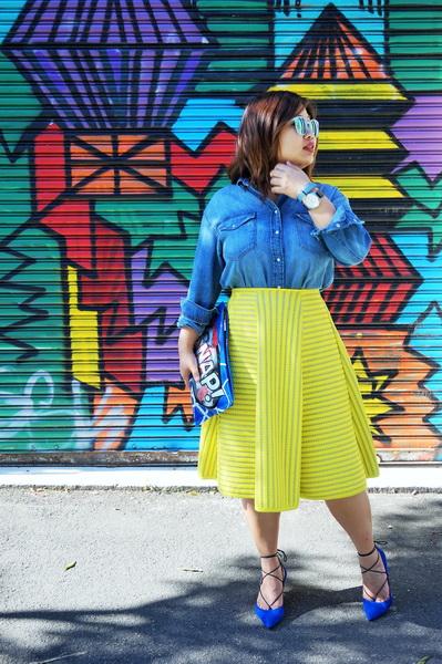 H&M denim shirt and H&M yellow lace circular skirt (6)