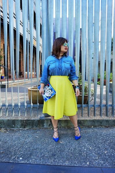 H&M denim shirt and H&M yellow lace circular skirt (7)