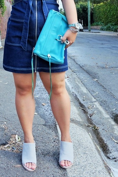 tellmeyblog - dotti zip through denim dress +rebecca minkoff mini mac + sol sana mules