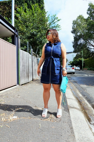 tellmeyblog - dotti zip through denim dress + sol sana mules (1)