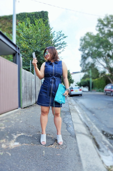 tellmeyblog - dotti zip through denim dress + sol sana mules (4)