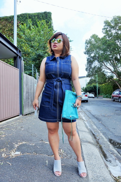 tellmeyblog - dotti zip through denim dress + sol sana mules (5)