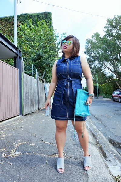 tellmeyblog - dotti zip through denim dress + sol sana mules (6)